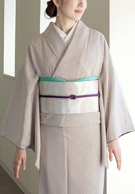 着物屋くるり 博多織八寸名古屋帯【玉菊】乳白