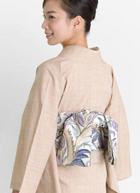 着物屋くるり ぜんまい紬の半幅帯【江戸紅型】瑠璃