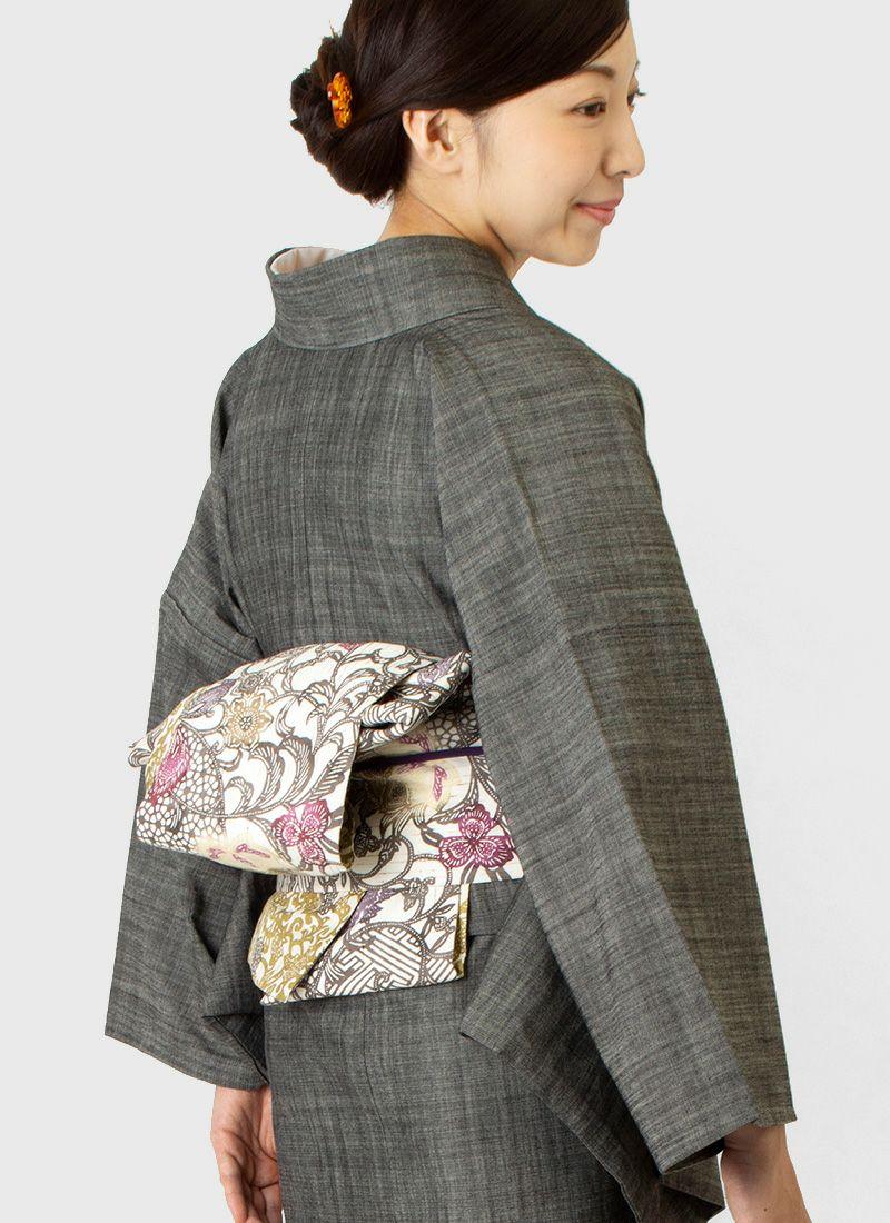 着物屋くるり ぜんまい紬の半幅帯【江戸紅型】蘇芳