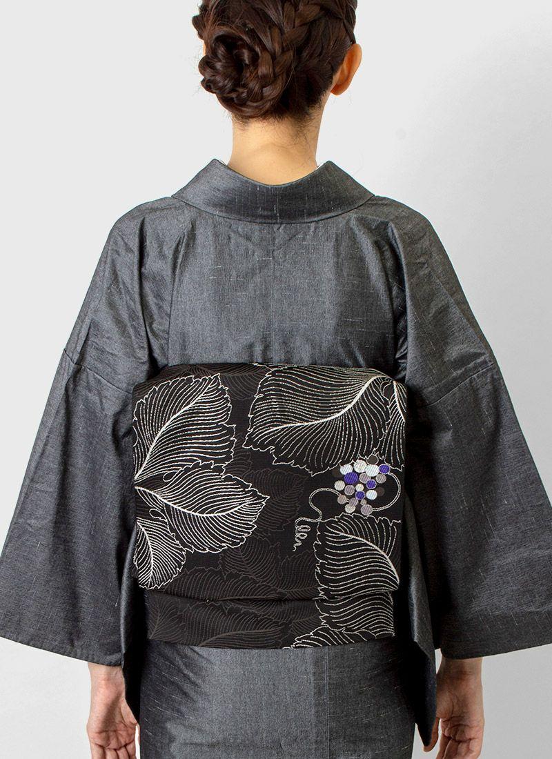 着物屋くるり 博多織名古屋帯【VENA】墨黒