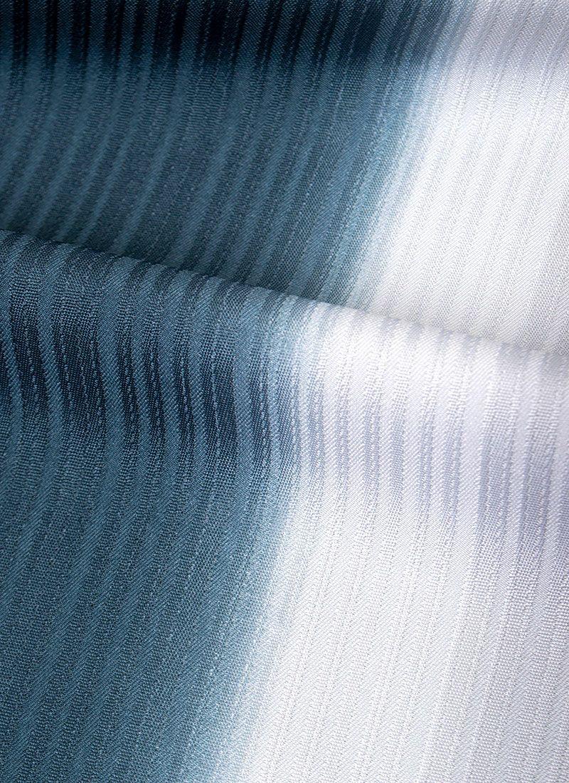 着物屋くるり ウォッシャブル着物【縦暈し】灰藍