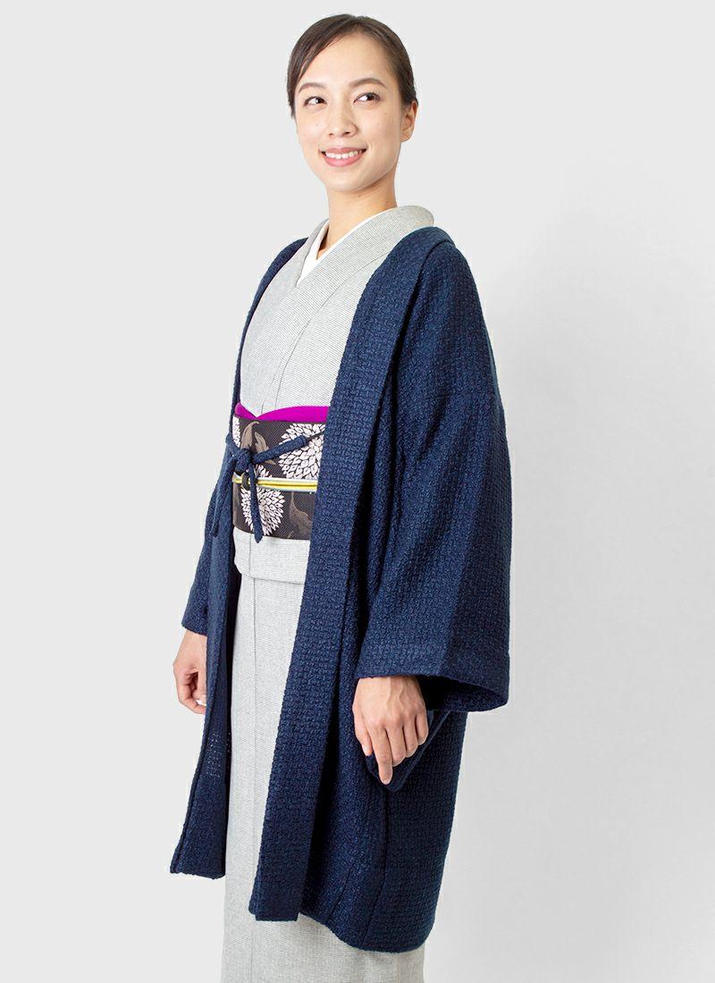 着物屋くるり 羽織【Haorie tricot】ネイビー