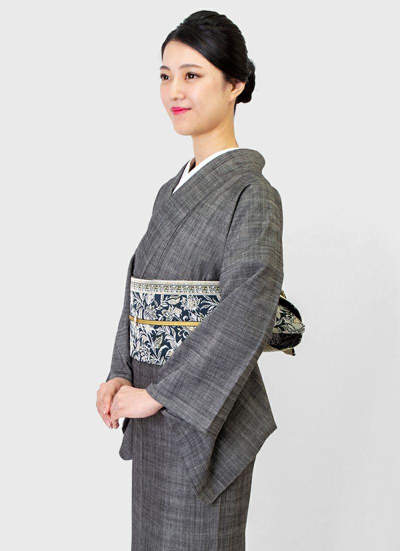 着物屋くるり 桐生織半幅帯【Iris】濃藍