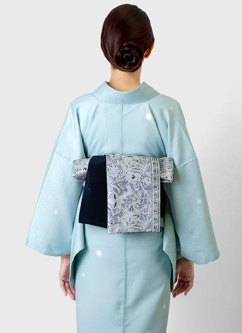 くるり 桐生織半幅帯【Iris】灰青
