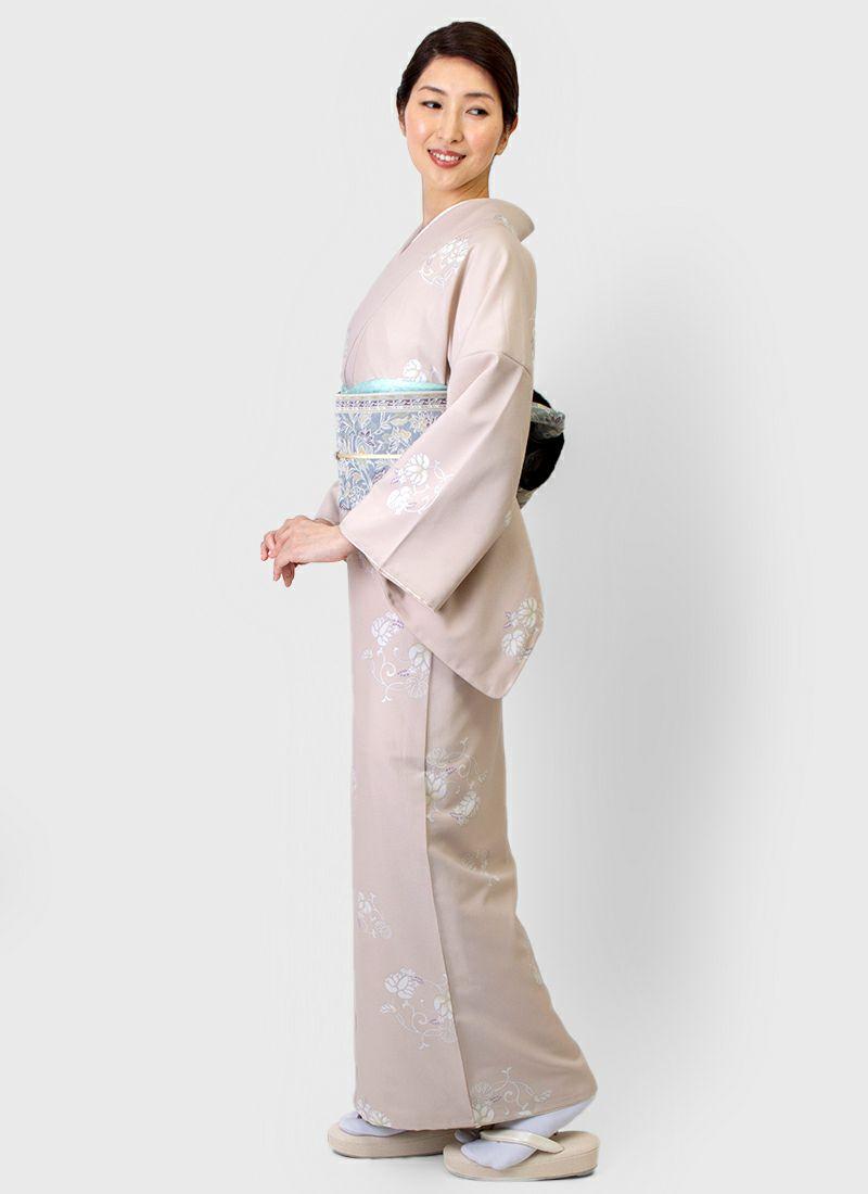 着物屋くるり 桐生織半幅帯【Iris】銀鼠