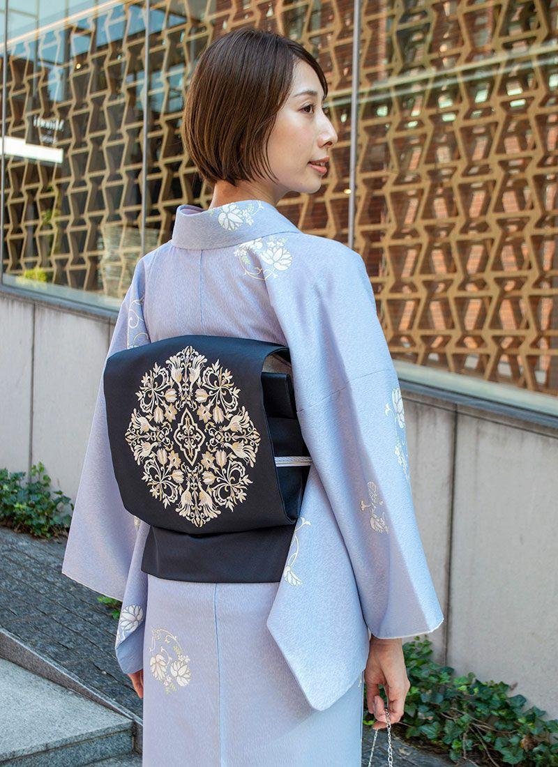 着物屋くるり ウォッシャブル着物【葵丸紋】青藤