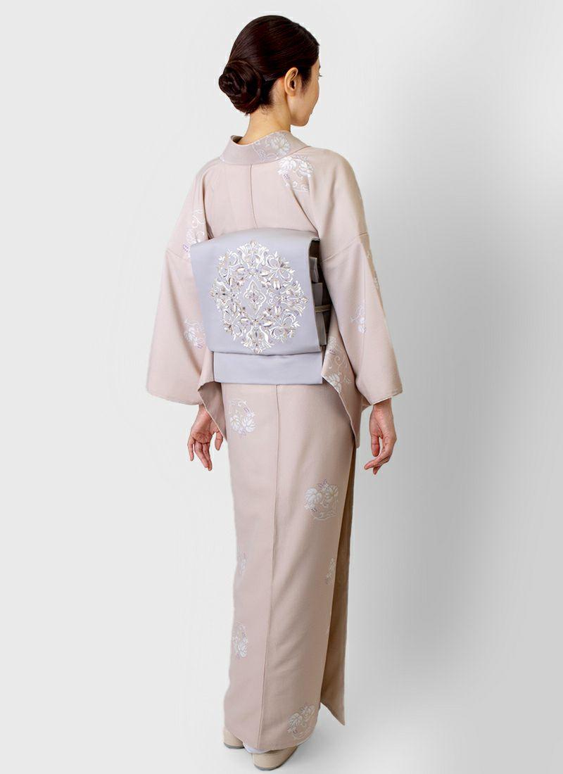 着物屋くるり ウォッシャブル着物【葵丸紋】薄杏