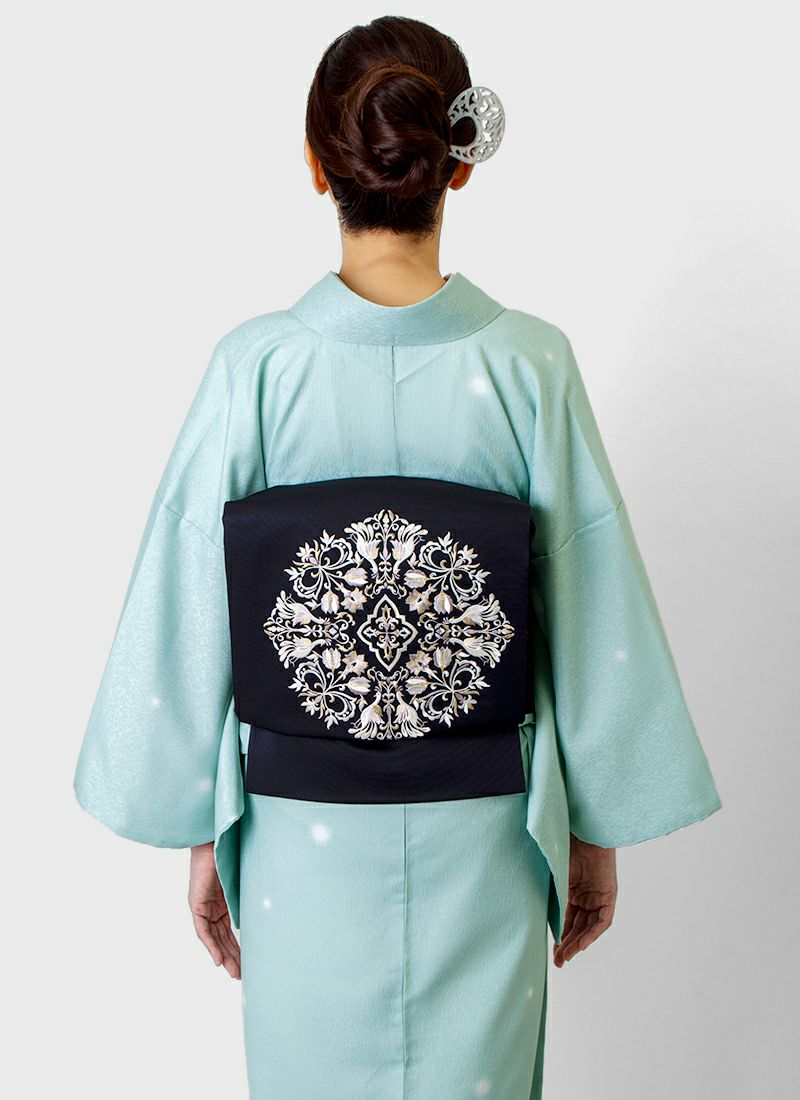 着物屋くるり 刺繍名古屋帯【magnifique】ダークネイビー