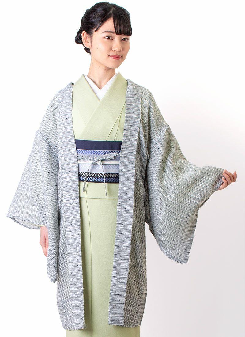 着物屋くるり 羽織【Haorie さざなみ】ライトグレー