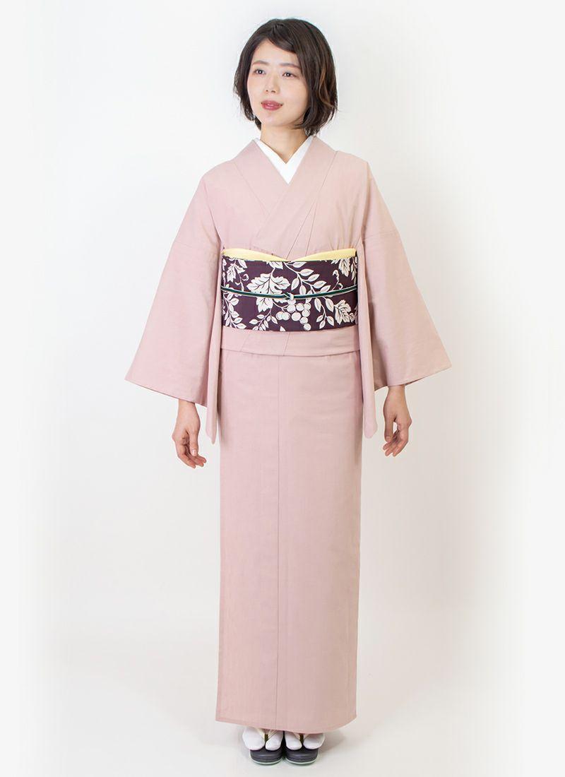 くるり カジュアル着物【灰櫻】モデル着用