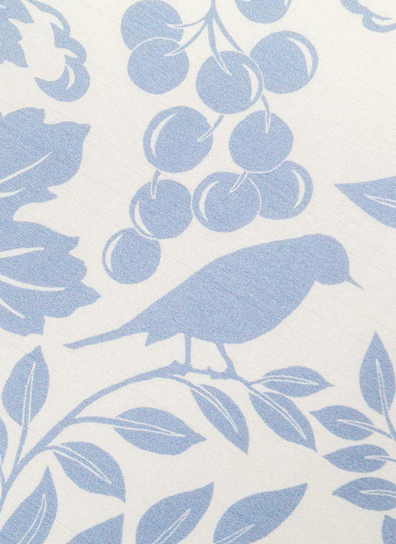 くるり 名古屋帯 【草木鳥】ブルーグレーの柄アップ