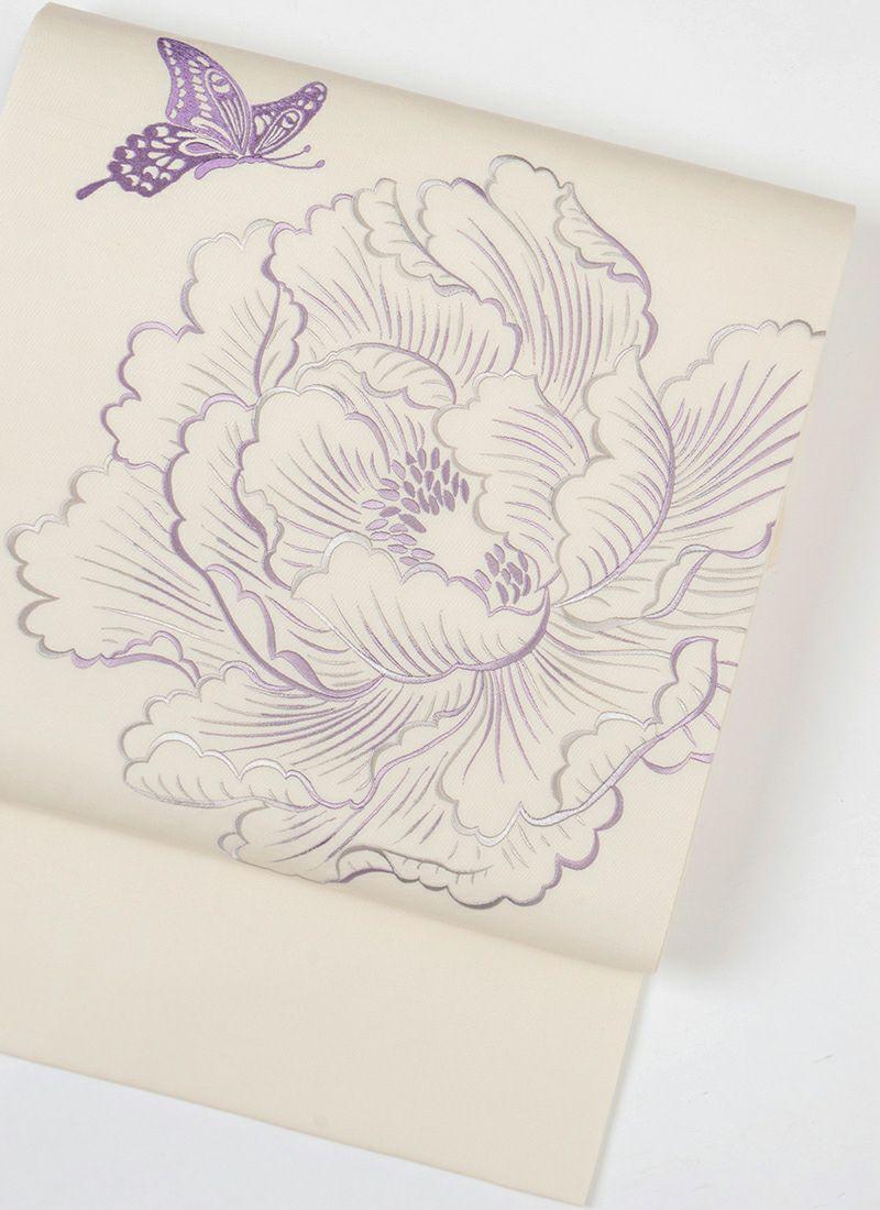 着物屋くるり 刺繍名古屋帯【牡丹と蝶】