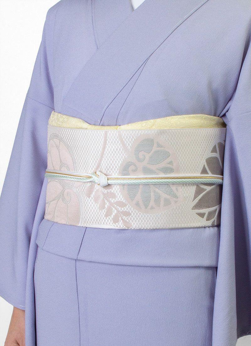 着物屋くるり 博多織名古屋帯 【葵】薄香色