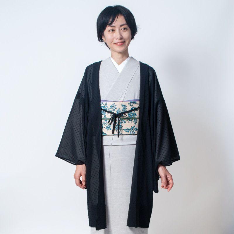 くるり 羽織【Haorie あわ雪】ブラック モデル着用