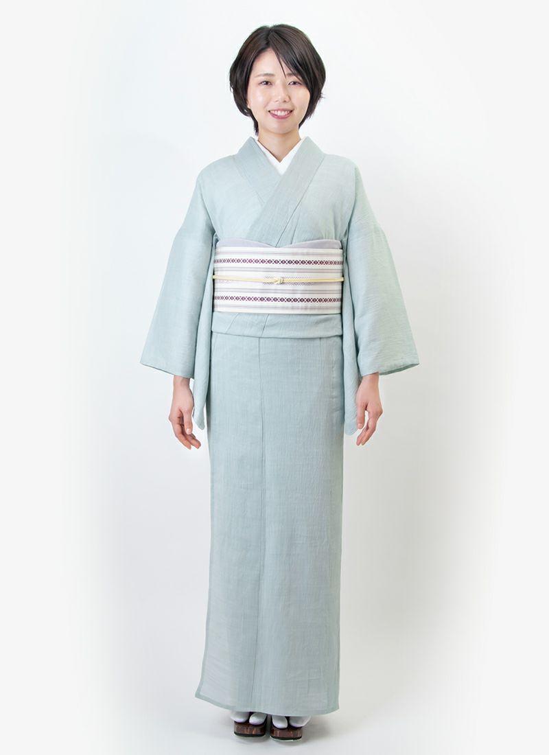 くるり 博多織半幅帯【博多献上】乳白 モデル着用