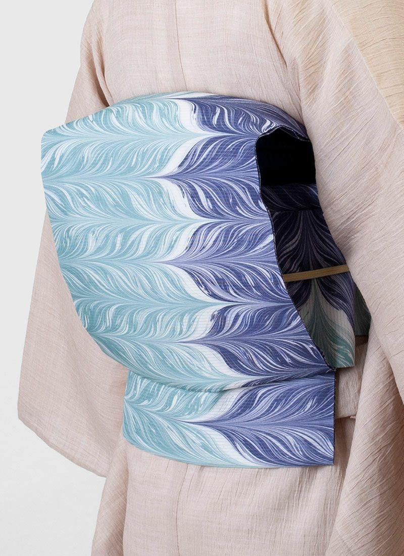 着物 くるり 正絹絽名古屋帯 【墨流し】