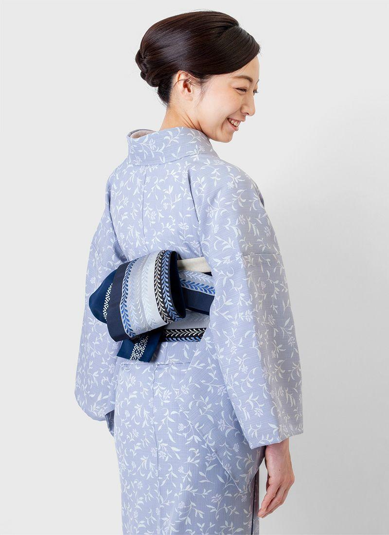 くるり ウォッシャブル夏着物 セオα【ゆられ花】グレー