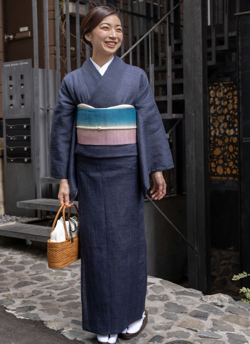 着物 くるり 半幅帯【麻ぼかし】孔雀青