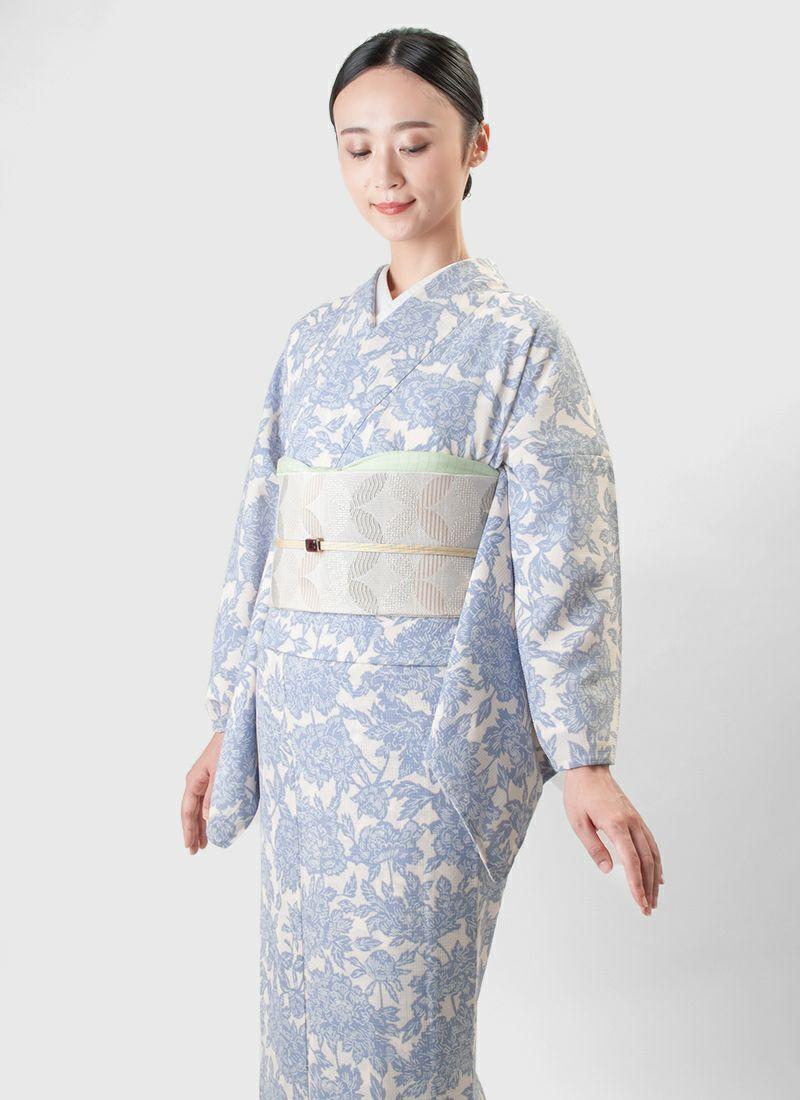 ウォッシャブル夏着物 ソアナチュア【牡丹唐草】灰青