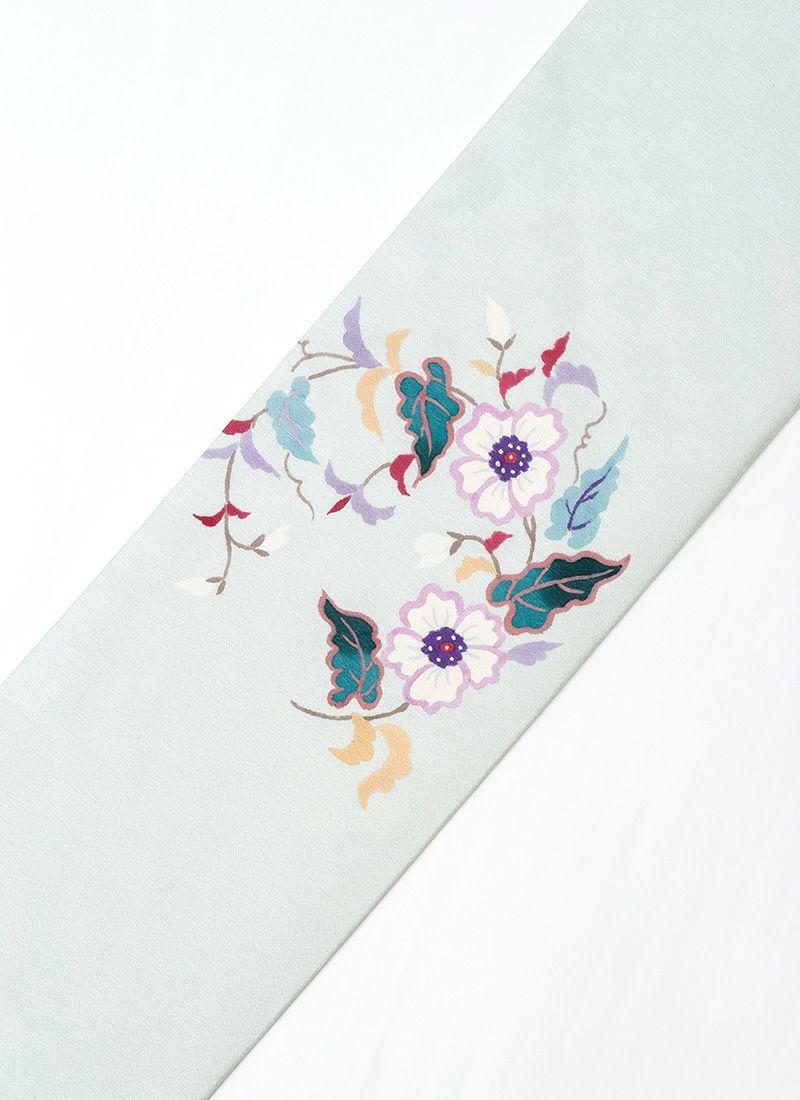 正絹名古屋帯【手描き友禅/花輪】