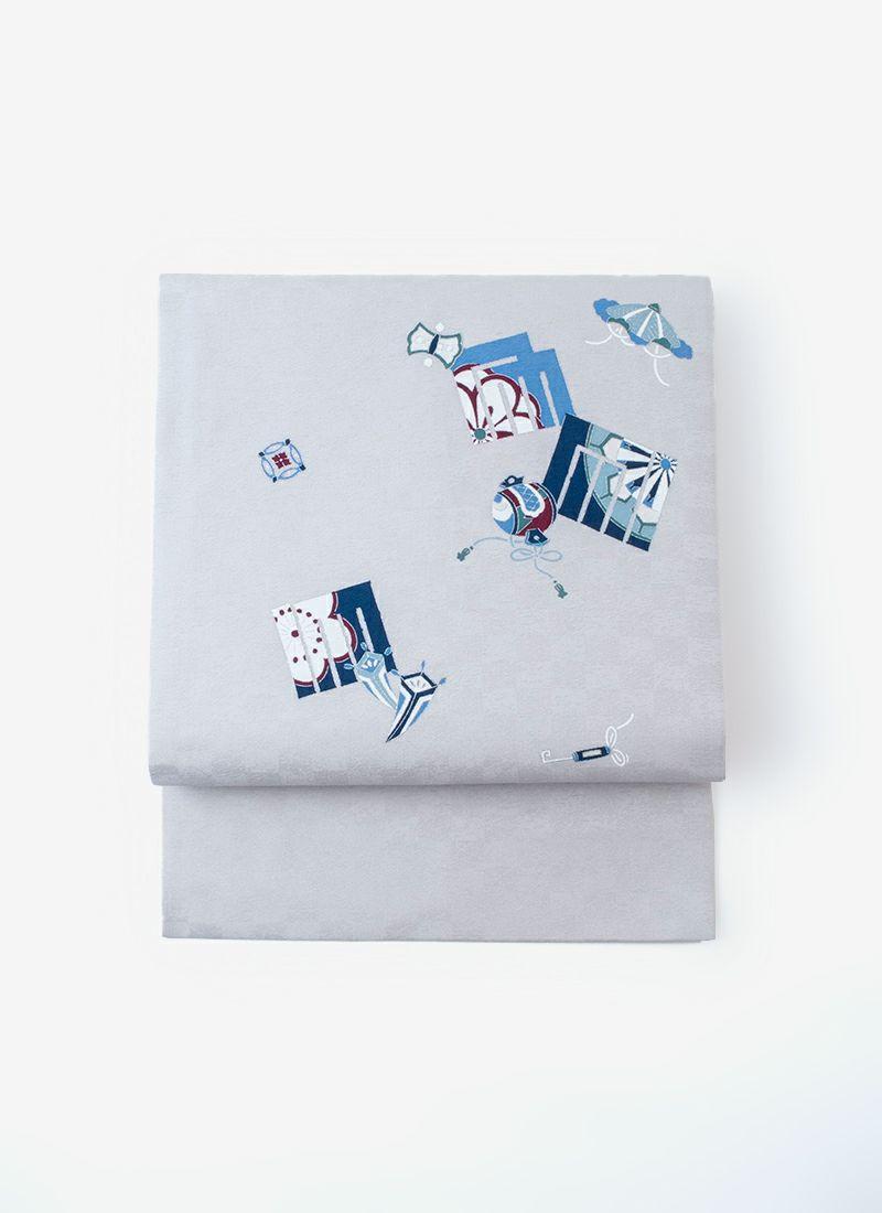 正絹名古屋帯【型友禅/源氏香】薄灰